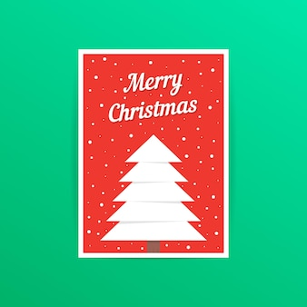 Rote karte der frohen weihnachten mit schneefällen. konzept der traditionellen, a4-header, dekorativ, verziert, event-party. auf grünem hintergrund isoliert. flache arttrend moderne postdesign-vektorillustration