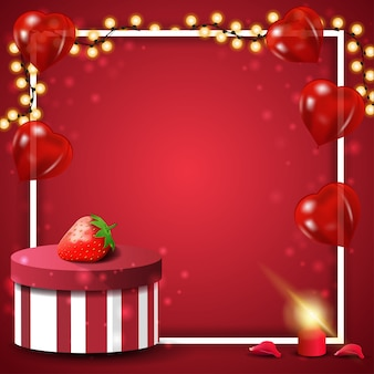 Rote karte der valentinstaggrußkarte mit geschenk und erdbeere
