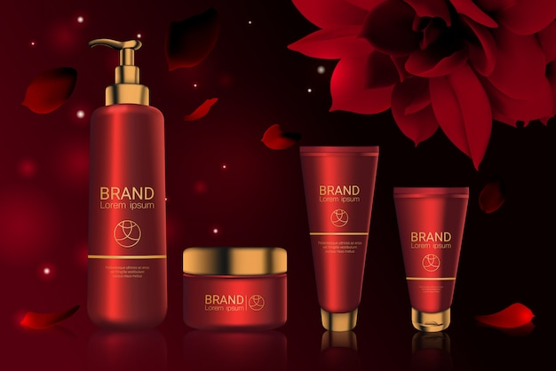 Rote kosmetikflaschen mit logo-paket