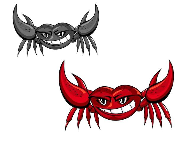 Rote krabbe mit klauen für maskottchen oder meeresfrüchte-design