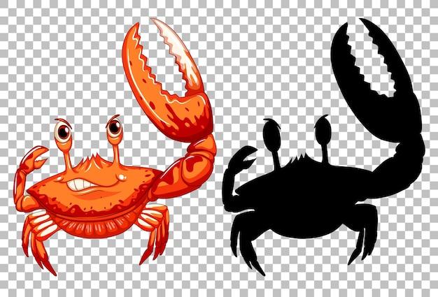 Rote krabbe und ihre silhouette auf transparent