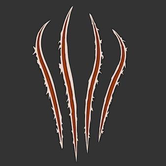 Rote krallen tierkratzspur auf dunklem hintergrund isoliert. vektorillustration, eps10. katzentiger kratzt an der pfotenform. vier nägel verfolgen. beschädigtes tuch. ausgefranste kanten.