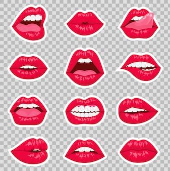 Rote küssende und lächelnde karikaturlippen isolierten dekorative ikonen für partypräsentation. die flachen lippen der sexy frau drücken verschiedene emotionen aus