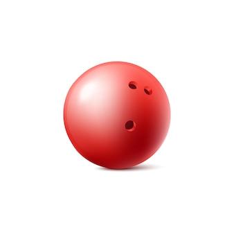 Rote kugel symbol oder symbol der bowlingkugel, realistische vektorillustration isoliert. spielausrüstungselement für club- oder wettbewerbswerbedrucke.