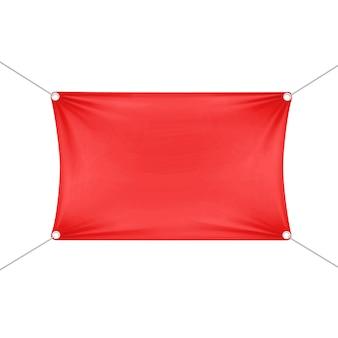 Rote leere leere horizontale rechteckige fahne mit eckenseilen.