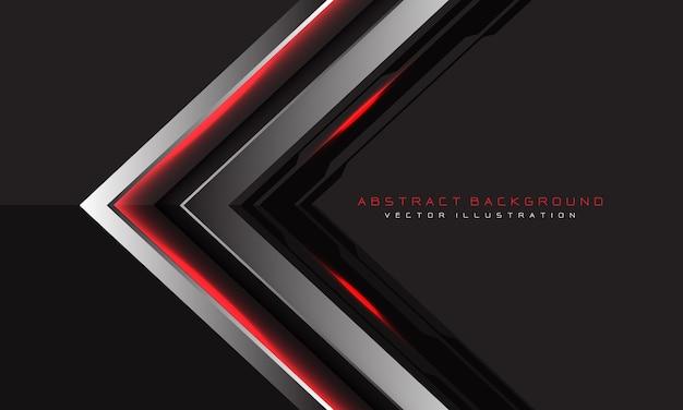 Rote lichtpfeilrichtung der abstrakten silbernen schwarzen schaltung auf grau