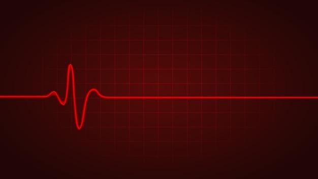 Rote linie zeigt die herzfrequenz, während sie auf dem diagramm des monitors tot ist