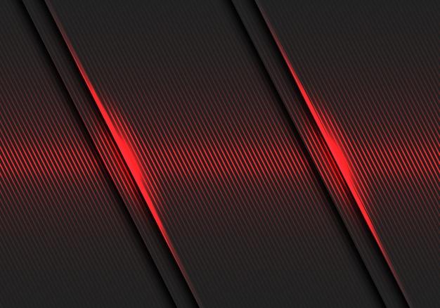 Rote linien beleuchten musterhieb auf dunkelgrauem futuristischem luxushintergrund.