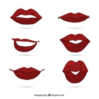 Rote lippen gesetzt
