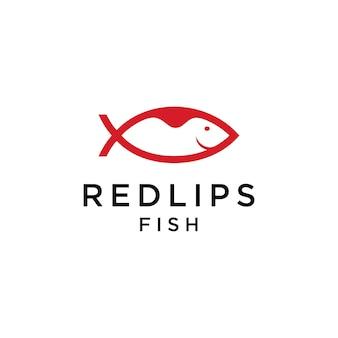 Rote lippen mit fischlogo-vektordesign