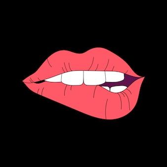 Rote lippenillustration auf schwarzem hintergrund