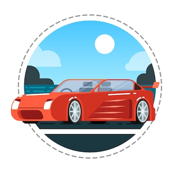 Rote luxusautoikone