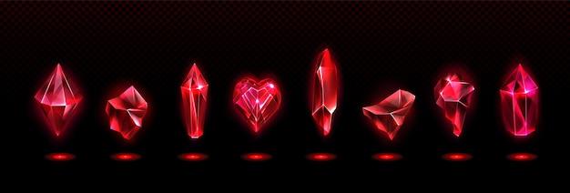Rote magische kristalle gesetzt