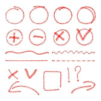 Rote markierungselemente. kreise, pfeile, häkchen und kreuzzeichen.