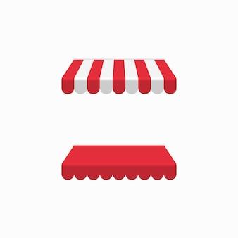 Rote markise oder baldachin lokalisiert auf weißem hintergrund, realistisch