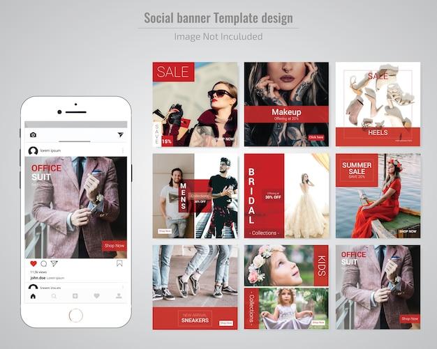 Rote mode social media beitragsvorlage