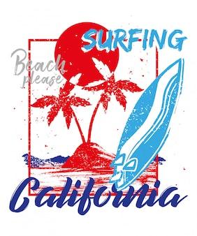 Rote mode vintage sommer grafik illustration mit kalifornien strand, ozean, heiße sonne, tropische insel, palme, surfbrett.