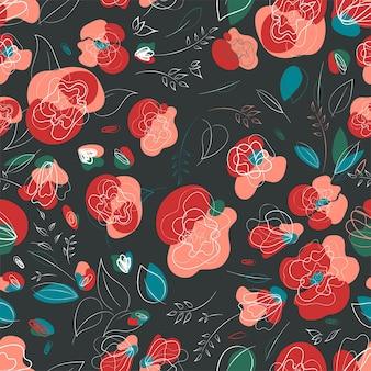 Rote mohnblume in einem ländlichen vintage-stil. sommerwiese sonnenuntergang textur. millefleur-muster.