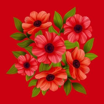 Rote mohnblumen auf rot