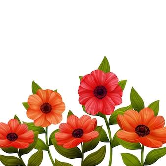 Rote mohnblumen-blumen-abbildung