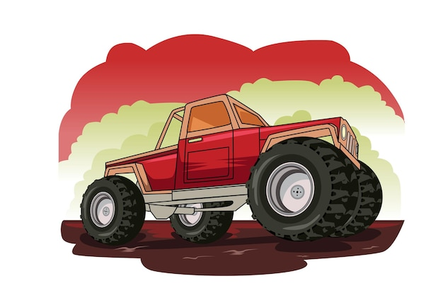 Rote monster truck illustration handzeichnung