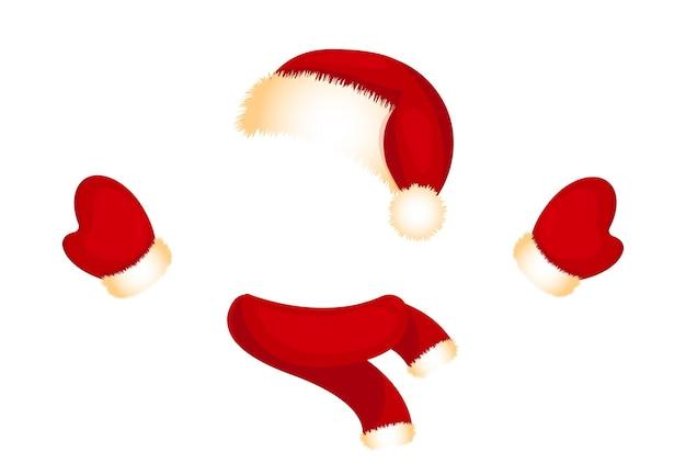 Rote mütze und fäustlinge mit weißem fell weihnachtsmannkostüm