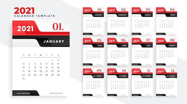 Rote neujahrskalender-entwurfsschablone der modernen 2021