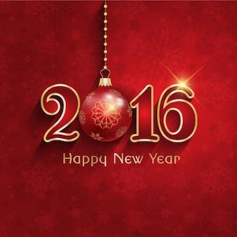 Rote neujahrskarte mit christbaumkugel