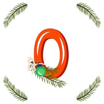 Rote nummer null mit grünem weihnachtsbaumast, ball und bogen. festliche figur für frohes neues jahr und helles alphabet