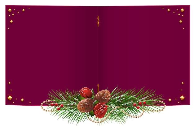 Rote offene weihnachtskarte mit tannenzweiggirlande, rose und tannenzapfen. auf weiß isoliert