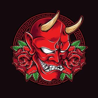 Rote oni-maske mit rosen