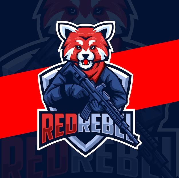 Rote panda-armee mit waffenmaskottchen-esport-logo-design-charakter