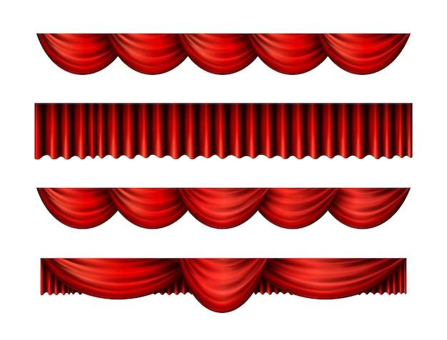 Rote pelmet-vorhänge für interieur-performance-event