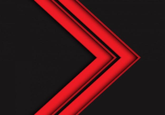 Rote pfeilrichtung auf dunkelgrauen futuristischen hintergrund.