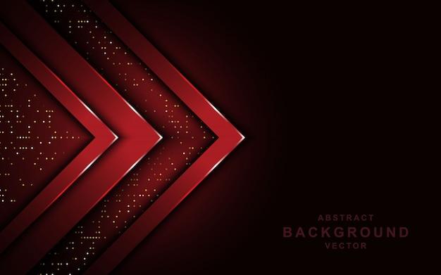 Rote pfeilüberlappungsschichten auf dunklem hintergrund mit funkeln.
