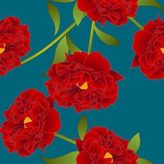 Rote pfingstrosen-blume auf knickenten-indigo-hintergrund