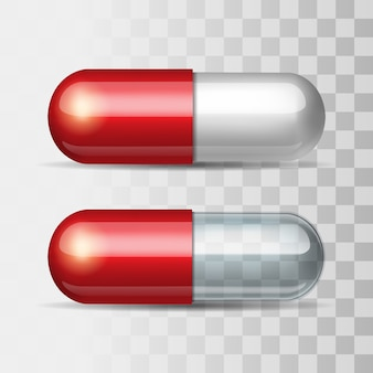 Rote pillen mit weiß und transparent. illustration