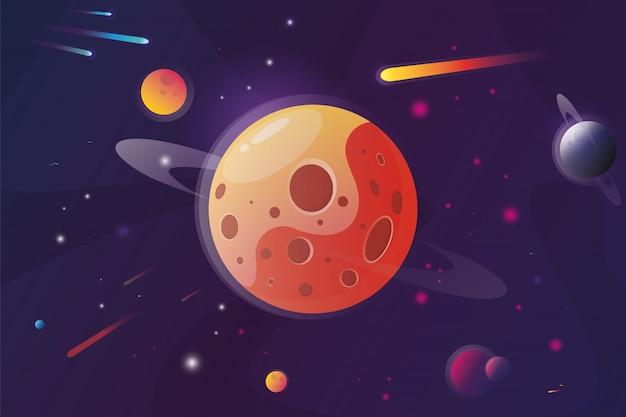 Rote planetenlandschaftsvektorillustration. oberfläche des planeten mit kratern.