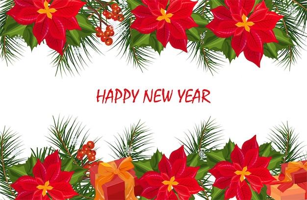 Rote poinsettia blüht weihnachtsfahnenkarte. retro festliche hintergründe