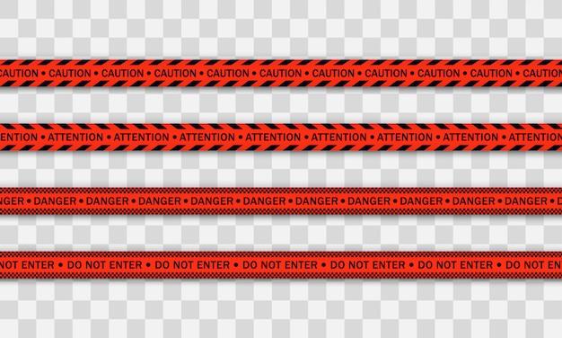 Rote polizeilinie warnband, gefahr, warnband. covid-19, quarantäne, halt, nicht überqueren, grenze geschlossen. rote und schwarze barrikade. quarantänezone aufgrund von coronavirus. warnschilder. .
