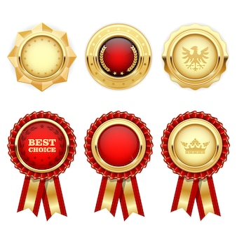 Rote preisrosetten und goldene heraldische medaillen und abzeichen