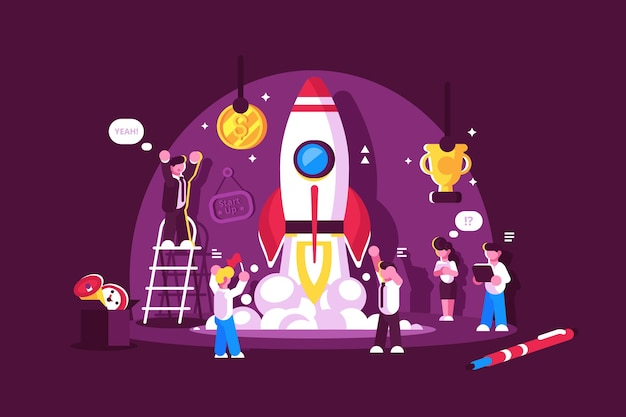 Rote rakete starten raum mit leuten, die illustration feiern und aufmuntern