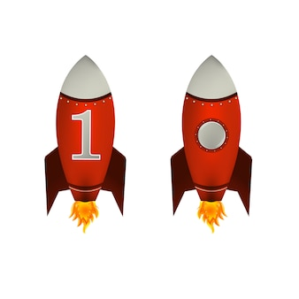 Rote raketen isoliert