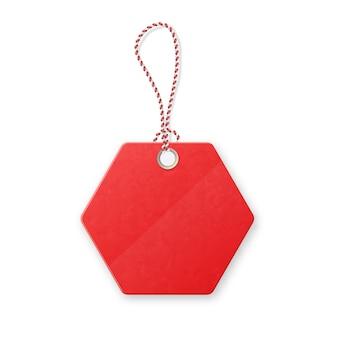 Rote realistische strukturierte verkaufsmarke mit seil.