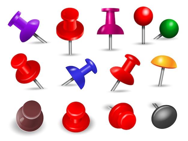 Rote reißzwecke. büromaterial für papiernotizen push und anhänge objekte organisieren winkelmontage pin farbige markierungen gesetzt.