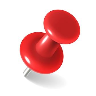 Rote reißzwecke. runder metallstift zum anhängen von memos und angehefteten dokumenten