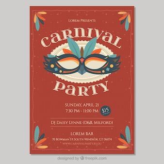 Rote retro karneval poster vorlage