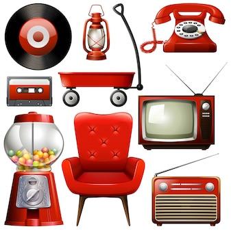 Rote retro-objekte