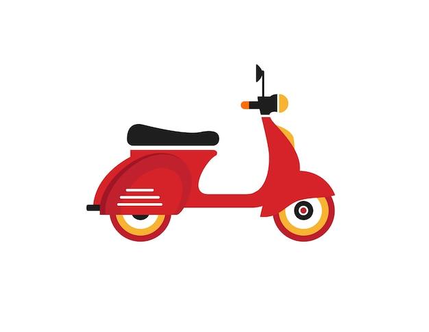 Rote retro- weinleselieferungs-motorradikone lokalisiert auf weißem hintergrund