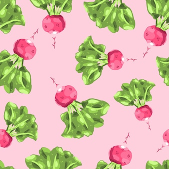 Rote rettichillustration. nahtloses muster des roten rettichs. handgezeichnete gesunde ernährung.